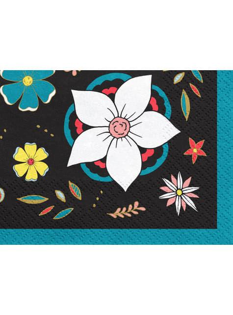 20 servilletas negra con estampado de flores de papel (33x33 cm) - Dia de Los Muertos Collection - para tus fiestas