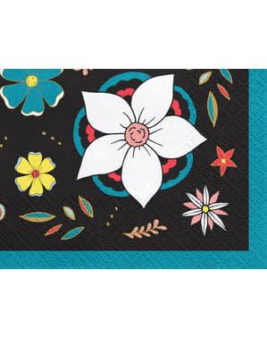Çiçekli 20 Siyah Kağıt Peçeteler Set - Dia de Los Muertos Koleksiyonu