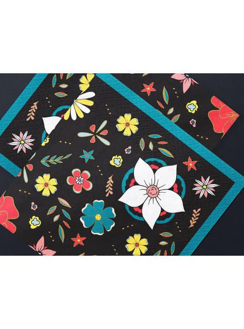 20 Black Paper Napkins with Flower (33x33 cm) - Dia de Los Muertos Collection