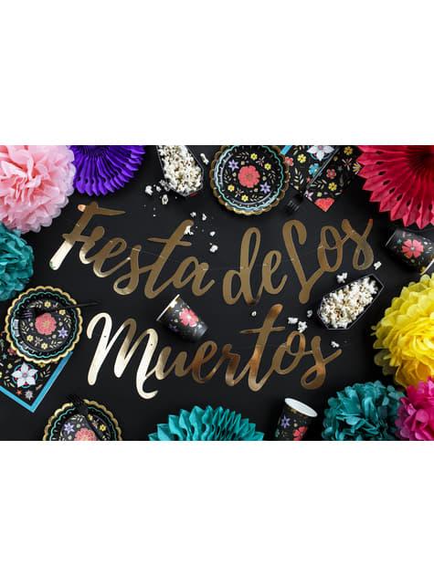 20 servilletas negra con estampado de flores de papel (33x33 cm) - Dia de Los Muertos Collection - para niños y adultos