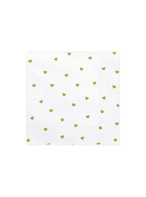 20 servilletas blancas con corazones dorados de papel (33x33 cm) - White & Gold Wedding
