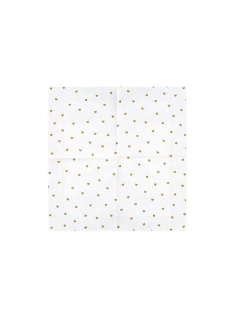 20 servilletas blancas con corazones dorados de papel (33x33 cm) - White & Gold Wedding - para tus fiestas