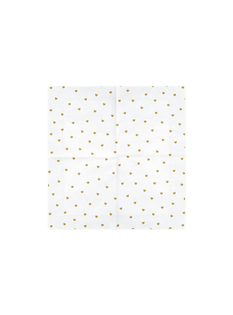 20 White Paper Napkins with Gold Heart (33x33 cm) - White & Gold Wedding