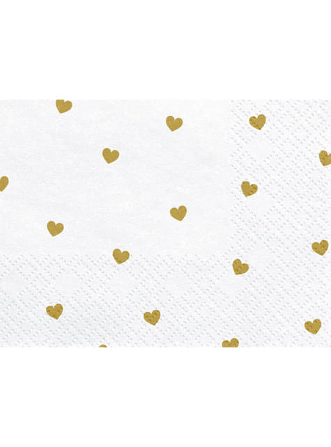 20 servilletas blancas con corazones dorados de papel (33x33 cm) - White & Gold Wedding - barato