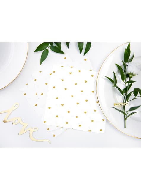 20 servilletas blancas con corazones dorados de papel (33x33 cm) - White & Gold Wedding - comprar