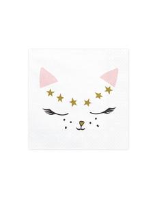 0def13ab6 Set de 20 servilletas blancas con estampado de gato de papel - Meow Party  ...