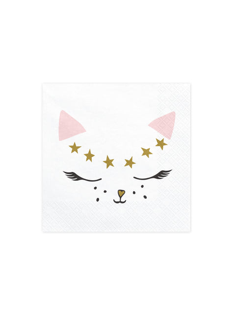 20 White Paper Napkins with Cat (33x33 cm) - Meow Party