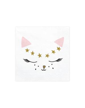 20 servilletas blancas con estampado de gato de papel (33x33 cm) - Meow Party