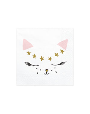 20 pappersservetter vita med katt (33x33 cm) - Meow Party