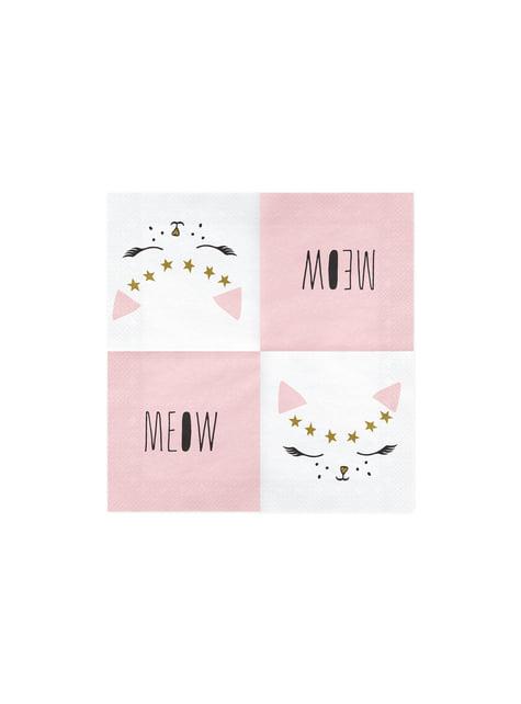 20 serviettes blanches motifs chat en papier - Meow Party