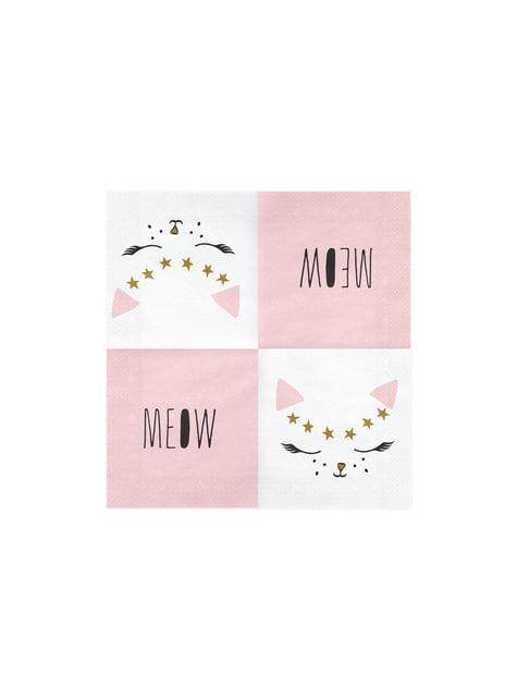 20 guardanapos brancos com papel gato prin (33x33 cm) - Meow Party
