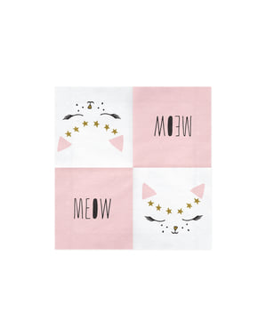 20 serviettes blanches motifs chat en papier - Meow Party