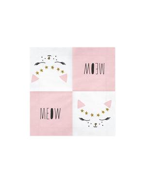 20 witte papieren servetten met katte (33x33 cm) - Miauw Feest