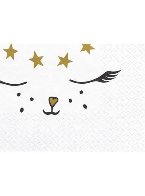 20 servilletas blancas con estampado de gato de papel (33x33 cm) - Meow Party - barato