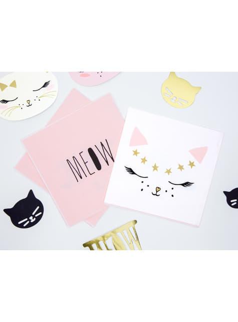 20 servilletas blancas con estampado de gato de papel (33x33 cm) - Meow Party - comprar