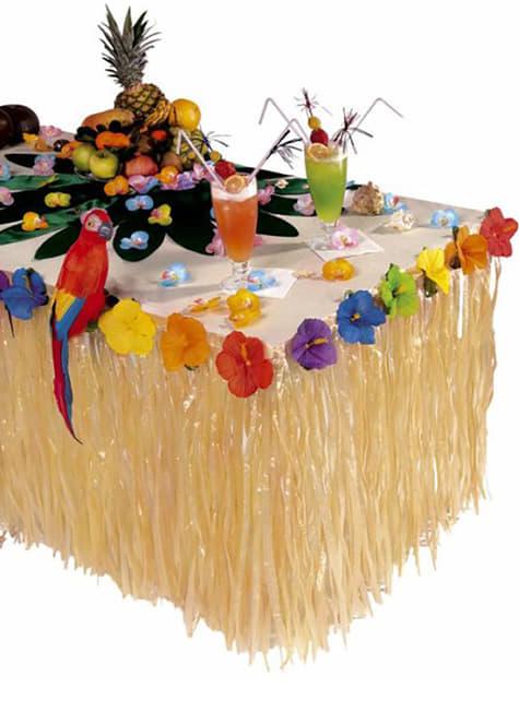 Decoración de mesa hawaiana con flores