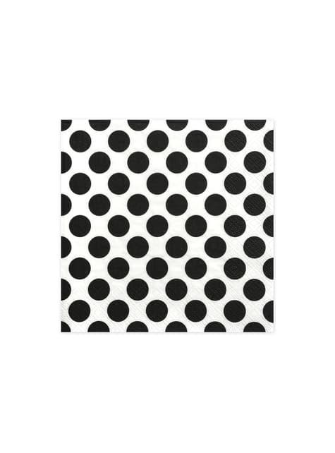 20 serviettes blanches à pois noirs en papier