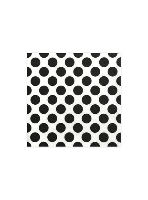 20 White Paper Napkins with Black Dots (33x33 cm)