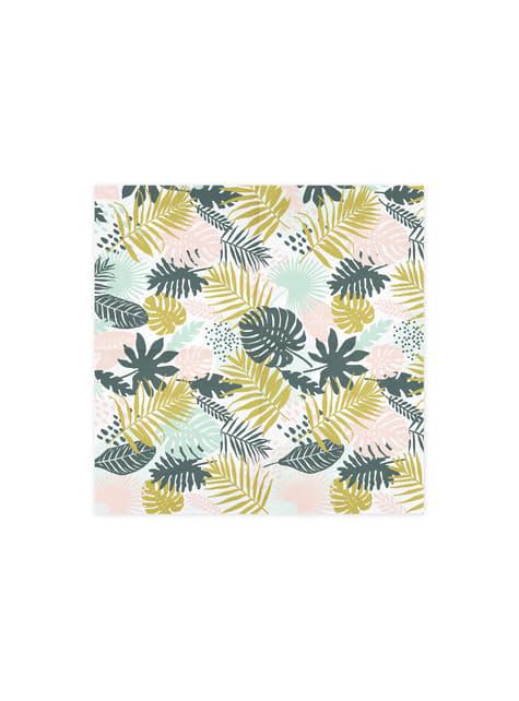 20 servilletas blancas con estampado de piñas y hojas (33x33cm) - Aloha Turquoise