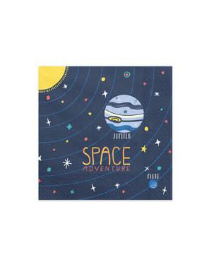 "Set od 20 ""Space Adventure"" Papirnati servi, Blue-Space Party"