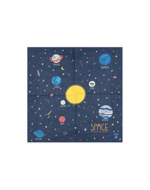20 serviettes bleues motifs