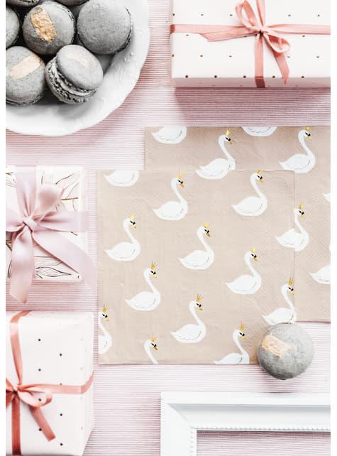 20 guardanapos rosa pastel com cisnes de pape (33x33 cm) - Lovely Swan