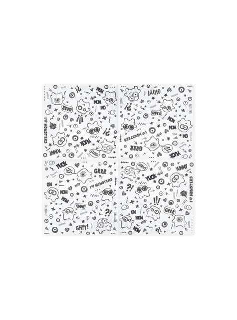 20 Papierservietten weiß mit Gespenster (33x33 cm) - Boo