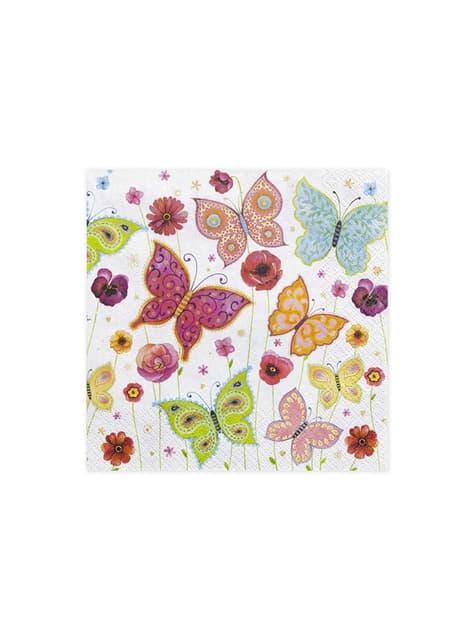 20 servilletas blancas con estampado de mariposas multicolor de papel (33x33 cm)