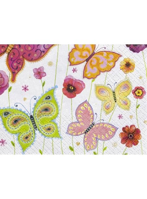 20 guardanapos brancos com borboletas multicoloridas (33x33 cm)