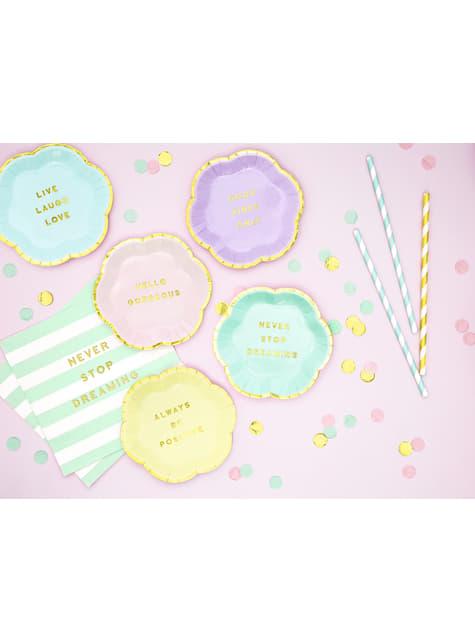 20 servilletas verde pastel con estampado