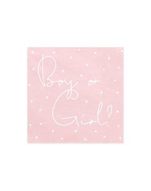 """20 """"berniukų ar mergaičių"""" popierinių servetėlių rinkinys, rožinė ir mėlyna - lyčių atskleidimo šalis"""