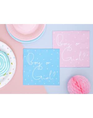 """20 """"dječak ili djevojčica"""" papir salvete, Pink i Blu (33x33 cm) - Spol otkriti stranku"""