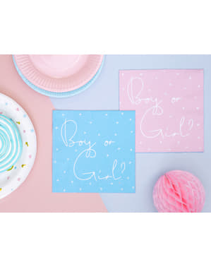 Zestaw 20 różowe & niebieskie papierowe serwetki