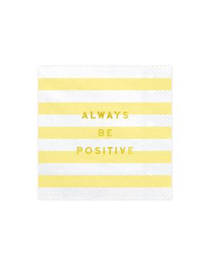 "Komplekt 20 ""Alati olema positiivne"" paberist salvrätikud, pastellkollane - Nami"