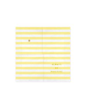 20 serviettes jaunes pastel motifs