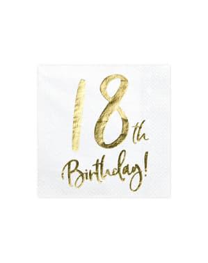 """Set iz 20 """"18 rojstnega dne"""" Papirni prtički, Beli - Milestone Birthday"""