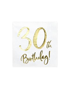 30 urodziny Zestaw 20 białe papierowe serwetki - Milestone Birthday