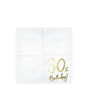 """Set iz 20 papirnatega servisa """"30. rojstni dan"""", bela - Milestone Birthday"""