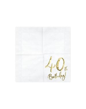 """Sada 20 papierových obrúskov """"40. narodeniny"""", biele - míľnikové narodeniny"""