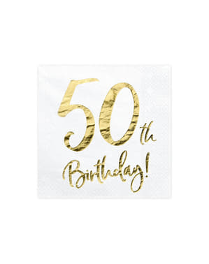"""Set iz 20 papirnatega servisa """"50. rojstni dan"""", bela - mejnik rojstni dan"""