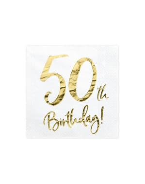 50 Urodziny Zestaw 20 białe papierowe serwetki - Milestone Birthday