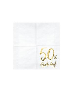 """Sada 20 papierových obrúskov """"50. 50. narodeniny"""", biele - míľnikové narodeniny"""