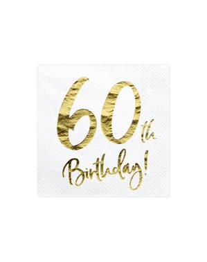 60 Urodziny Zestaw 20 białe papierowe serwetki - Milestone Birthday
