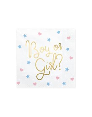 "20 бели хартиени салфетки ""Boy Or Girl?""(33x33 cm)– Gender Reveal Party"