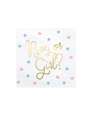 "20 ""Boy or Girl?"" Papirne salvete u Bijelom (33x33 cm) - Party za otkrivanje spola"