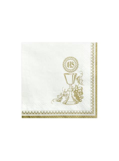 20 servilletas blancas con estampado de cáliz y bordes dorados de papel (33x33 cm) - First Communion