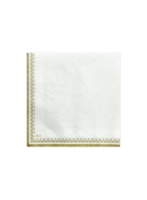 20 serviettes blanches motifs calice et bords dorés en papier - First Communion