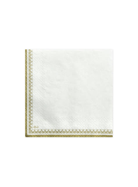 20 White Paper Napkins with Gold Border and Chalice Print (33x33 cm) - First Communion