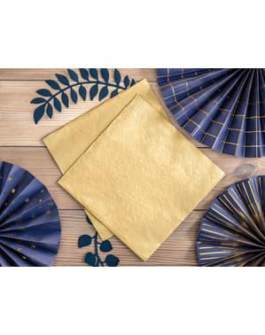 20 serviettes dorées de 40 cm en papier