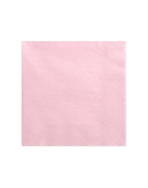 20 serviettes roses pastel de 40 cm en papier